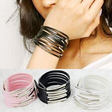 Women Ladies Girl Fashion Leather Bracelet Wristband Cuff Bangle 3Color