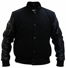 Mens Black Tweed Casual Bomber Jacket with real leather sleeves