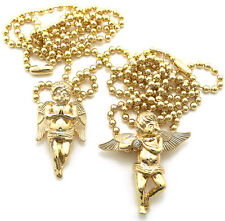 Gold Angel Wings Small Micro Pendant Charm Piece Ball Chain Necklace (SET OF 2)