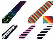 NEW SKINNY NECKTIE TIE RAINBOW MUSICAL NOTES BLACK WHITE PINK STRIPES KEYBOARD
