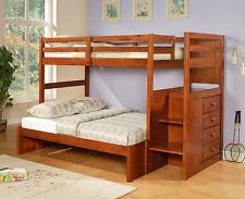KID'S BUNK BED WITH STAIRS W/ BUILT-IN CHEST - OPTIONS AVAILABLE -TWIN OVER FULL