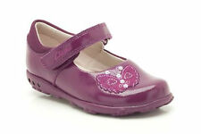 Clarks Infant Girls Ella Fly Berry Patent Leather Velcro & Lights First Shoes
