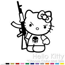 (HK-17) HELLO KITTY FIGURE MACHINE GUN AK-47 CAR WINDOW VINYL DECAL STICKER.