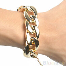 Stylish Womens Golden/Black/Silver Chunky Curb Chain Link Plastic Bracelet BH4U