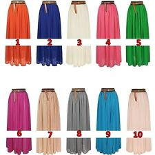 100/110/120cm Elegant Chiffon Pleated Long Maxi Skirt Elastic Band Dance Dress