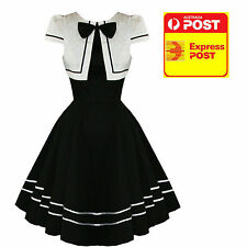 Hearts and Roses Black & White Long Bow Dress Vintage Rockabilly size 8-18 New
