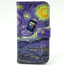 Tardis Doctor Who Starry Night Wallet Card Leather Case For iphone 4 4S 5 5S