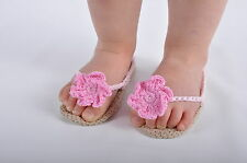 BEAUTIFUL HAND CROCHETED BABY GIRL SHOES SANDALS, CRIB, PRAM SHOES WITH FLOWER
