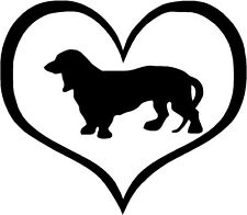 """Long Haired Dachshund Heart - 4.3"""" x 3.75"""" - Choose Color - Decal Sticker #1446"""