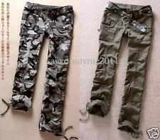 Womens Camouflage Military Army Green Cargo Slim Pants Leisure Trousers Jeans