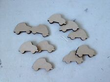 10 x VW Type Cars - Premier Medite MDF - Wooden - Blank Craft Shapes - 2cms