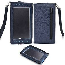 Dark Blue Universal Smartphone Wristlet Wallet Case with Clear Cover for Sony