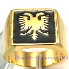 Size 9,9.5,10,10.5,11,11.5 Ring,REAL DICEPHALOUS EAGLE 18K YELLOW GOLD GP 1066r