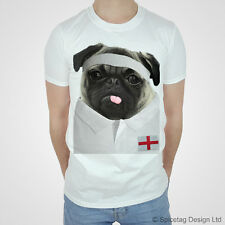 England Rugby Tshirt Pug T-shirt English Championship Try Sport White Cute 2014