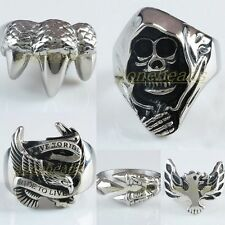Men Stainless Steel Skull Head Live To Ride Eagle Hawk Claw Finger Ring Jewelry