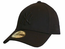 NEW ERA 39THIRTY MLB BASIC NEW YORK YANKEES STRETCH FIT CAP HAT BLACK ON  BLACK