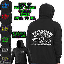 HOUSE OF PAIN GYM HOODY full front zip Golds Powerhouse Worlds hoodie USA MUSCLE