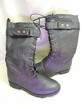 CA Collections Carrini Mid-Calf BLACK Lace Up Combat Boots RB-053