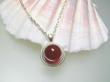 Vintage nature Canelian Rope Bezel sterling silver pendant w/o 925 silver chain