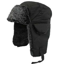 Adult Fur Lined Waterproof Trapper Hat Black RUSSIAN COSSACK SKI HAT MENS