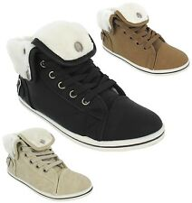 WOMANS GIRLS HI HIGH TOP TRAINERS FUR LINED WINTER PUMP FLAT SHOES ANKLE BOOT