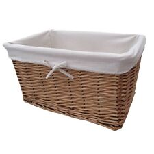 Natural Wicker Lined Storage Basket - Rectangular X Large to Small - Willow