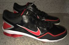 NEW Mens Sz 16 NIKE SHOX GAMER LOW Black Red White Baseball Metal Spikes Cleats