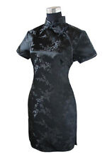 Vtg Asian Women Black Mini Short Chinese Evening Prom Club Dress Cheongsam Qipao