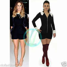 Womens Ladies Romper Peter Pan Collar Black Playsuit Party Zip Up Mini Jumpsuit