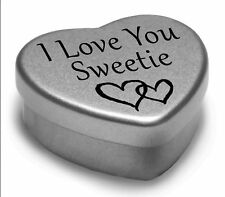 Beautiful Silver Heart Tin With Sweets, Special Gift Present to say I Love You