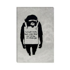 Laugh NowSandwich Board-wearing Monkey Banksy Canvas Print Painting Reproduction