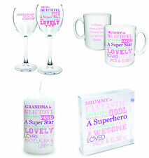 Personalised Gifts For Mum, Nan, Auntie, Sister Etc.Wine glass, mug, notebook