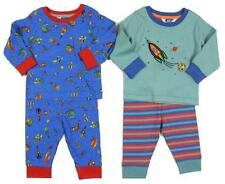 Ex John Lewis Boys Blue Red 2 PACK Striped Planets Long Sleeve Pyjamas Set NEW