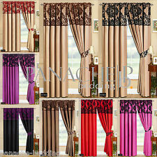 New Fully Lined Ready Made Tape Top Curtains with 2 Tie Backs/ 8 Luxury Colours