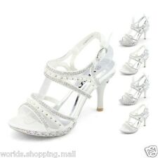 Womens Top Pearl Silver High Heels Sandals Girls Prom Wedding Dress Shoes Online
