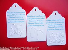 10 White EMBOSSED Personalised Gift Swing Tags Bomboniere Christening Baby Showe