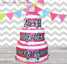 Hot Pink Black & White Zebra Print 3 Tier Diaper Cake Classic / Baby Shower Gift
