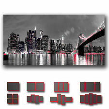 ' New York City Manhattan At Night Skyline ' Cityscape Modern Canvas Deco