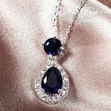 18K White Gold Plated Made With Swarovski Crystal Delicate Teardrop Necklace