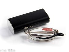 Compact Ant-Fatigue Folding Reading Glasses w/Hard Case
