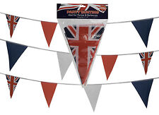 Union Jack BUNTING Fabric Red White Blue 20FT Street Party Royal Triangle Flag