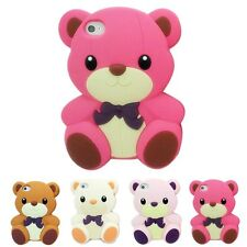 Rose 3D Teddy Bear Cute Animal Cartoon Silicon Soft Cover Case for Iphone 4 4S