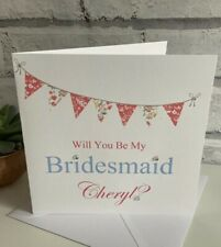 PERSONALISED WILL YOU BE MY BRIDESMAID MAID OF HONOUR FLOWER GIRL CARD WEDDING