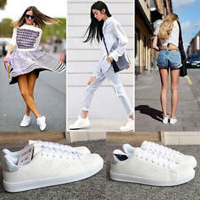 Womens Lace Sneaker Sports Flats Shoes White Size 7010#