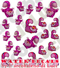 WATER DECALS STREGATTO ALICE CHESHIRE CAT STICKERS UNGHIE NAIL ART ADESIVI DECAL