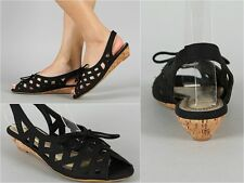 New Womens Ladies Fashion Open Toe Lace up Caged Cut Out Flat Sandals Wedges