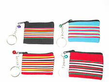 Rainbow Effect Mini Zip Coin Key Ring Purse 4 Colour Choices Handy & Practical