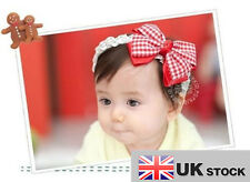 New Female Baby The Headdress Red/Bow Flower Headband UK SELLER