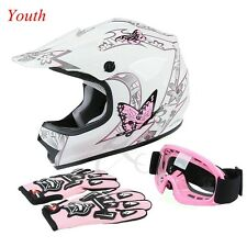 DOT Youth Pink Butterfly Dirt Bike ATV Helmet Motocross+Goggles+gloves S M L New