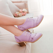 Womens Cut Out Brogues Lace Up Square Mid Heels Retro Girls Oxford Dancing Shoes
